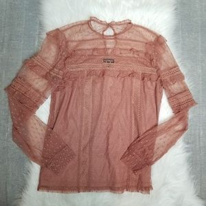 Express - Lace Long Sleeve Sheer Blouse